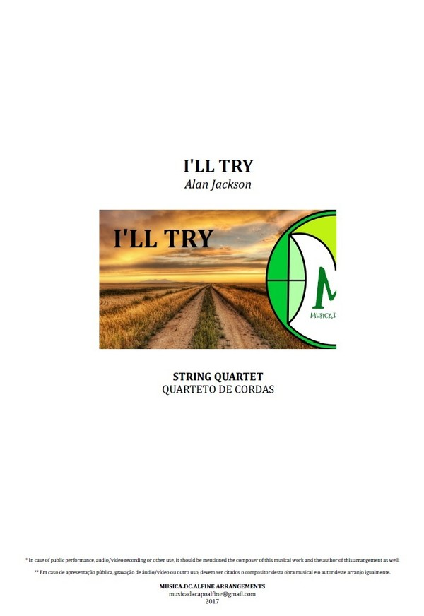 I'll Try | Alan Jackson | Quarteto de Cordas | Partitura Completa Download