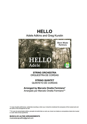 Hello - Adele - String Orchestra or String Quintet - Sheet Music - Score and parts / Sheet Music