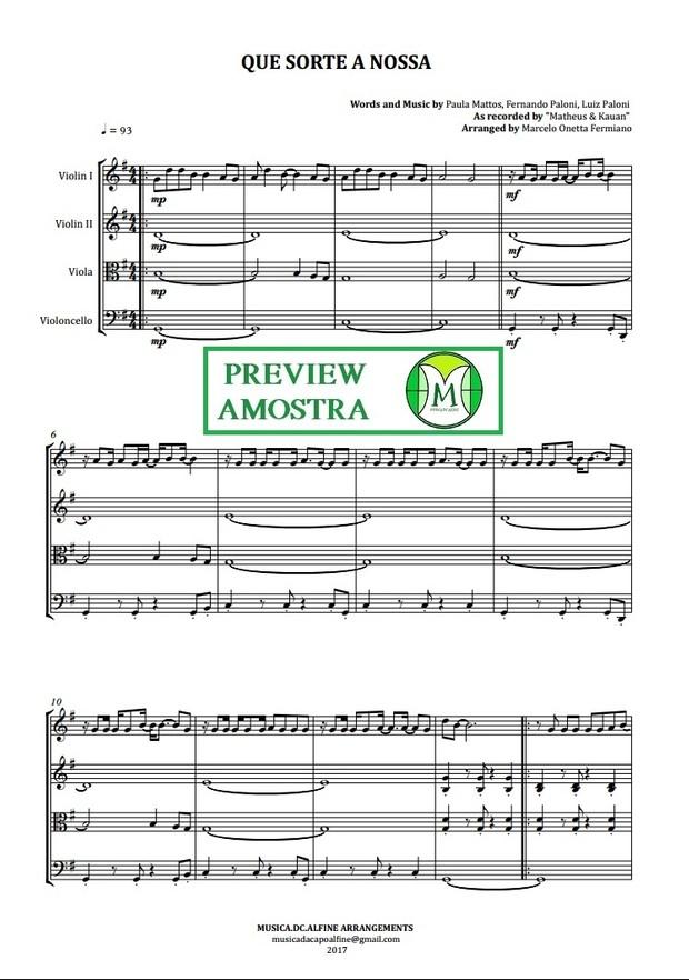 Que Sorte a Nossa | Matheus e Kauan | Quarteto de Cordas | Partitura Completa | Grade e Partes