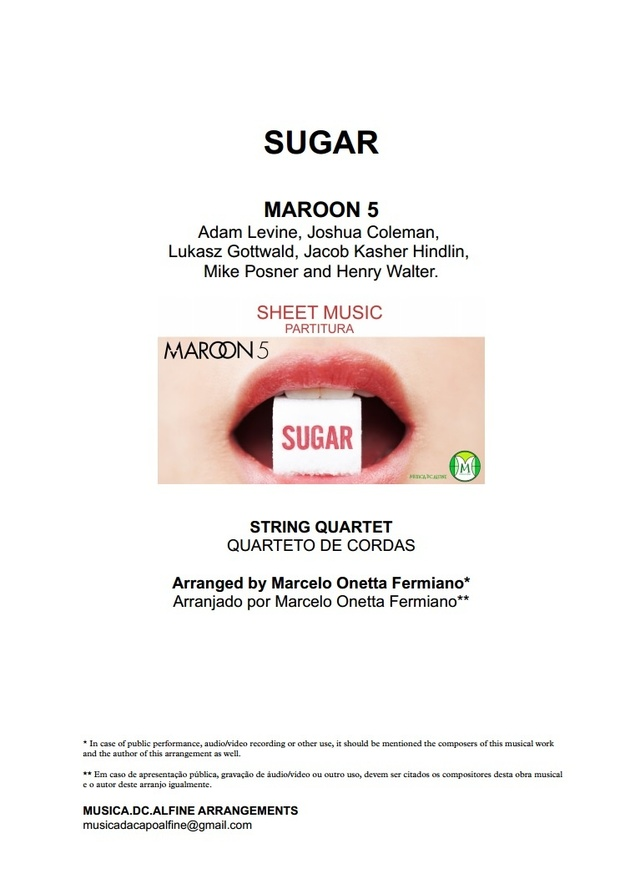 D (key) - Sugar - Maroon 5 - String Quartet Sheet Music - Score and parts