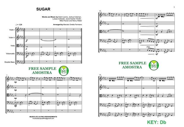 Db(key) Sugar - Maroon 5 - String Orchestra Sheet Music - Score and parts