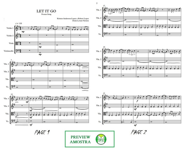 Let It Go | Frozen song | String Quartet | Score and parts | Download