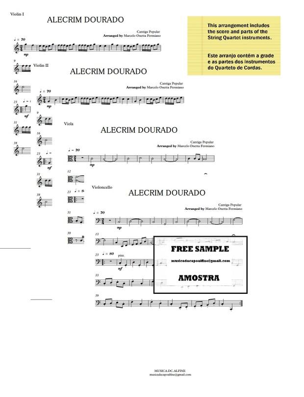 Alecrim Dourado - Quarteto de Cordas - Sheet Music - Score and parts.pdf