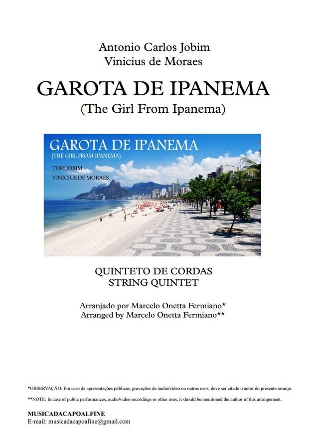 Garota de Ipanema -Tom Jobim -  String Quintet - Download Sheet Music - Score and parts