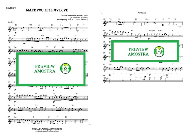 Make You Feel My Love - Dylan/Adele - Keyboard or Violin - Sheet Music