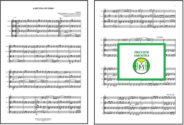 A Sky Full Of Stars   Coldplay   Quarteto de Cordas   Partitura Completa