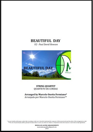 Beautiful Day | U2 | String Quartet | Score and Parts | Download