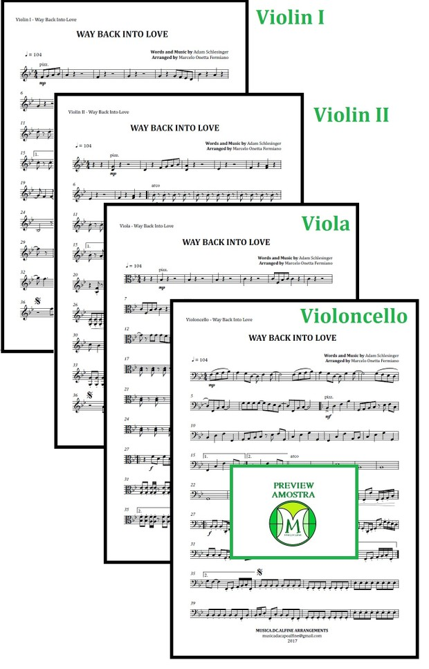 Way Back Into Love | Janice Vidal | String Quartet | Score and Parts Download