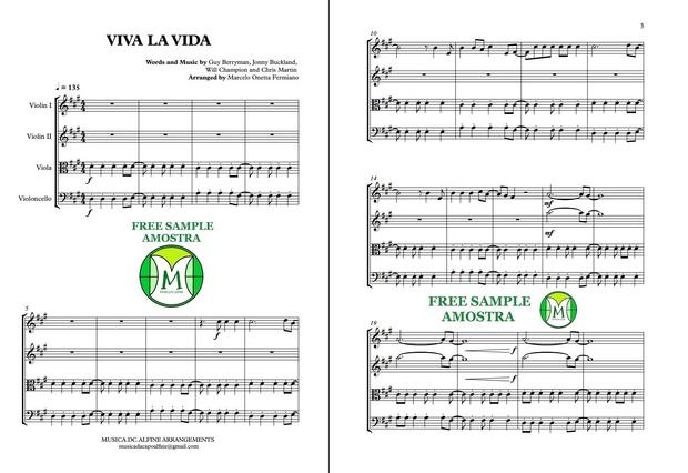 Viva La Vida - Coldplay - String Quartet - Score and parts