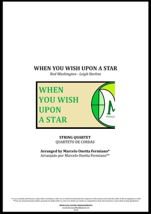 When You Wish Upon a Star | Disney Theme | Quarteto de Cordas | Partitura Completa