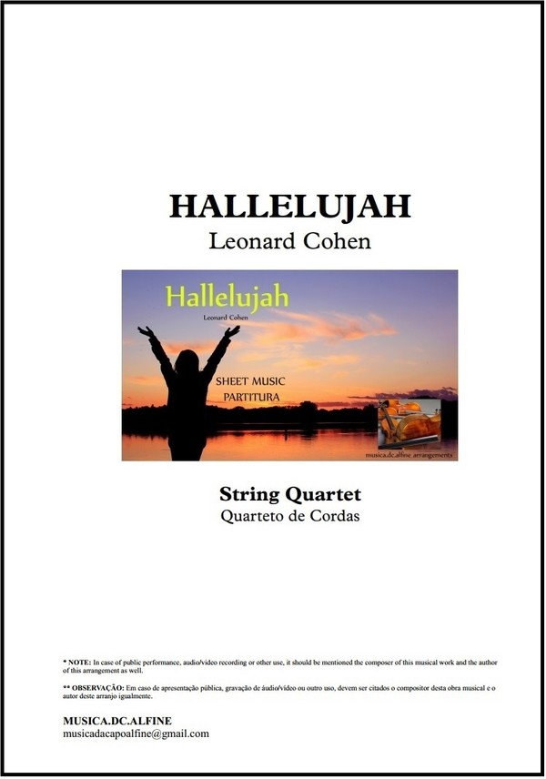 Hallelujah | Leonard Cohen | Quarteto de Cordas | Partitura Completa | Download