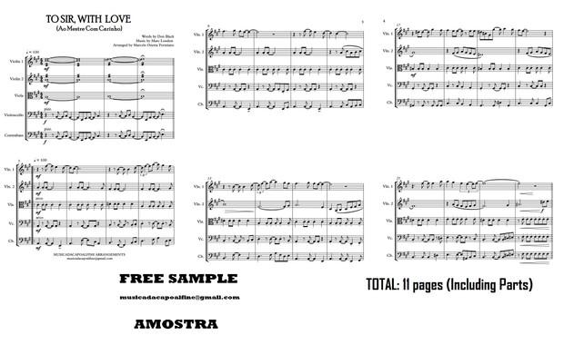 TO SIR, WITH LOVE - Ao Mestre com Carinho - String Quintet - Sheet Music Download