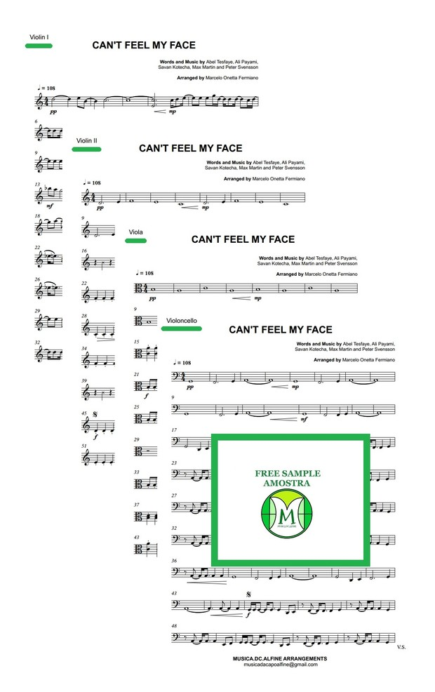 Can't Feel My Face - The Weeknd - String Quartet - Score and parts - Sheet Music