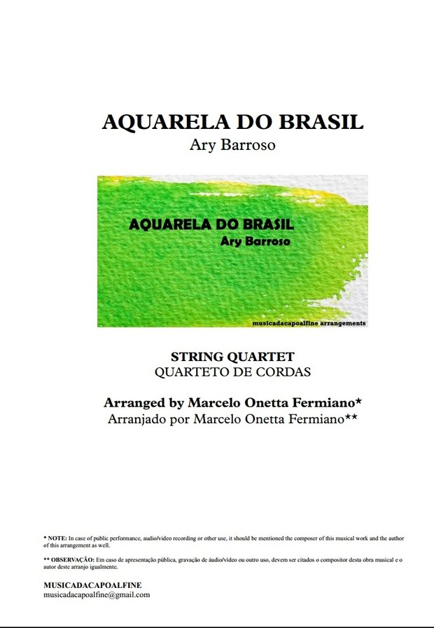 AQUARELA DO BRASIL - Ary Barroso - String Quartet - Quarteto de Cordas Sheet Music
