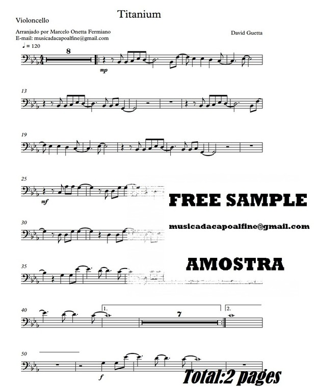 Titanium - D. Guetta -Violoncelo - Sheet Music Partitura Download.pdf