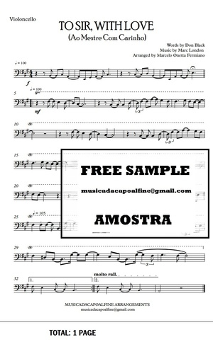 TO SIR, WITH LOVE - Ao Mestre com Carinho - Violoncello -Sheet Music Pdf Download