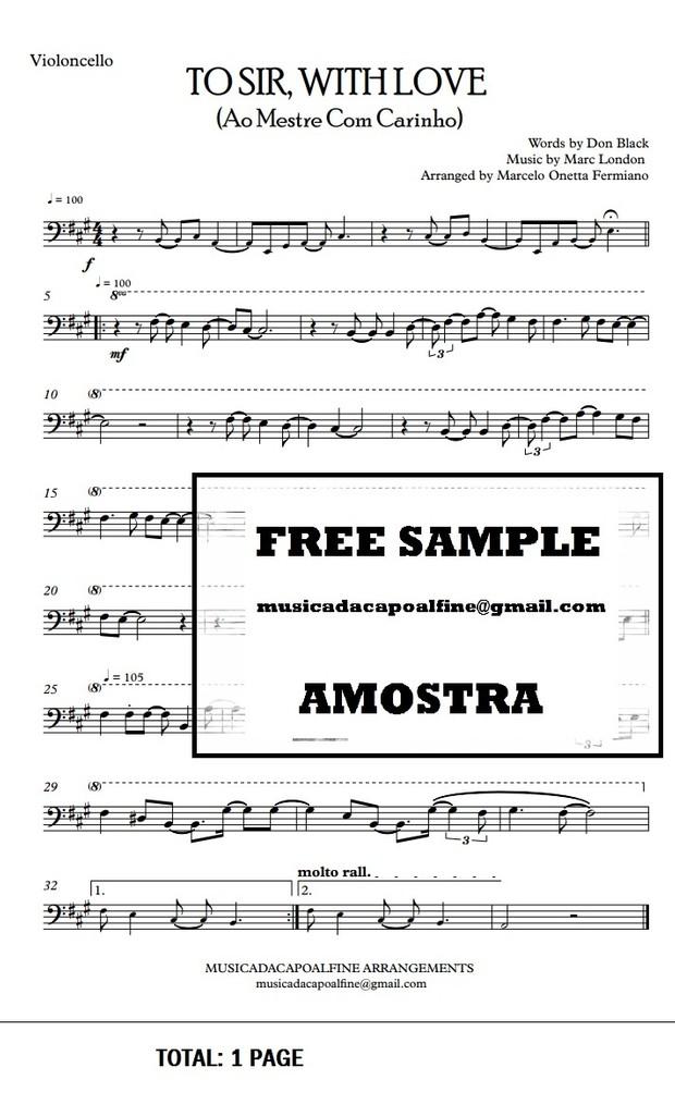 TO SIR, WITH LOVE - Ao Mestre com Carinho - Violoncello -Sheet Music Pdf Download