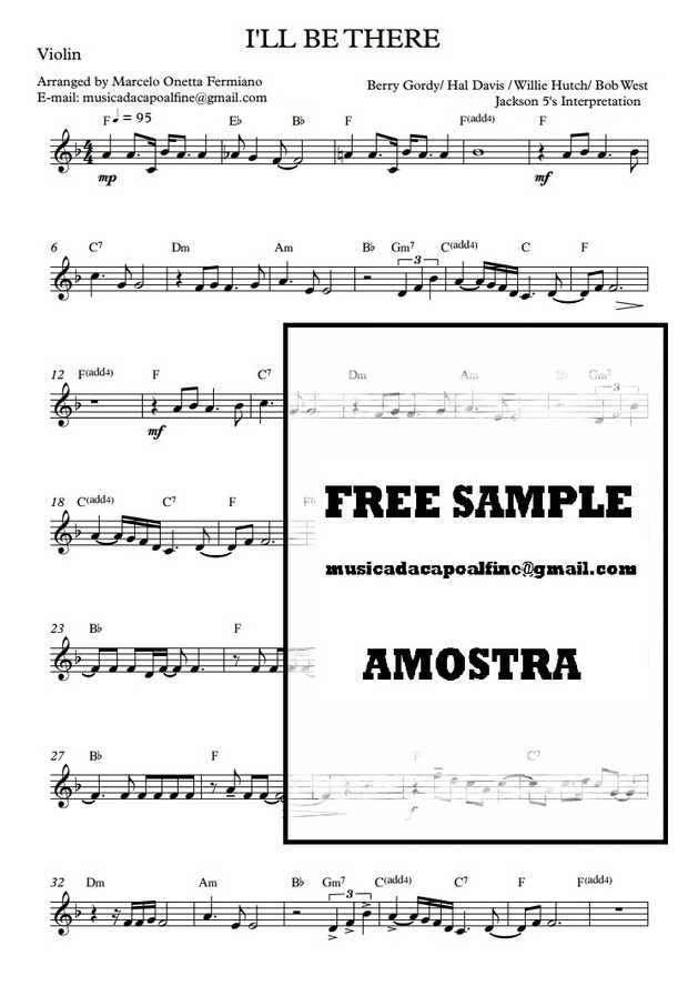 I'LL BE THERE Violino Solo Sheet Music Download