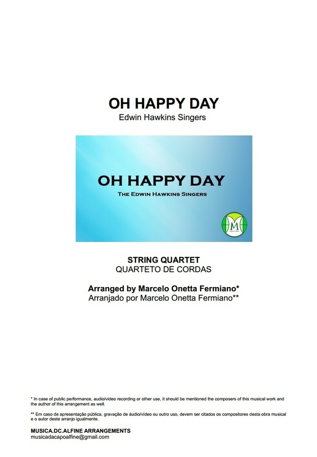 Oh Happy Day - Edwin Hawkins - String Quartet - Score and parts