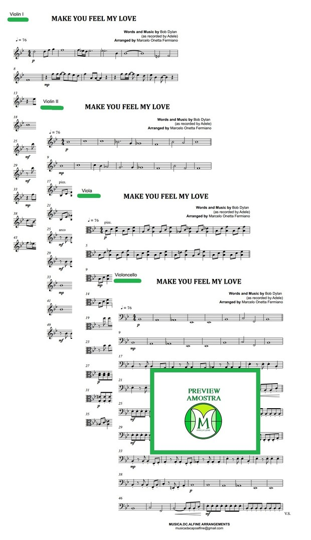 Make You Feel My Love - Dylan/Adele - String Quartet- Score and parts
