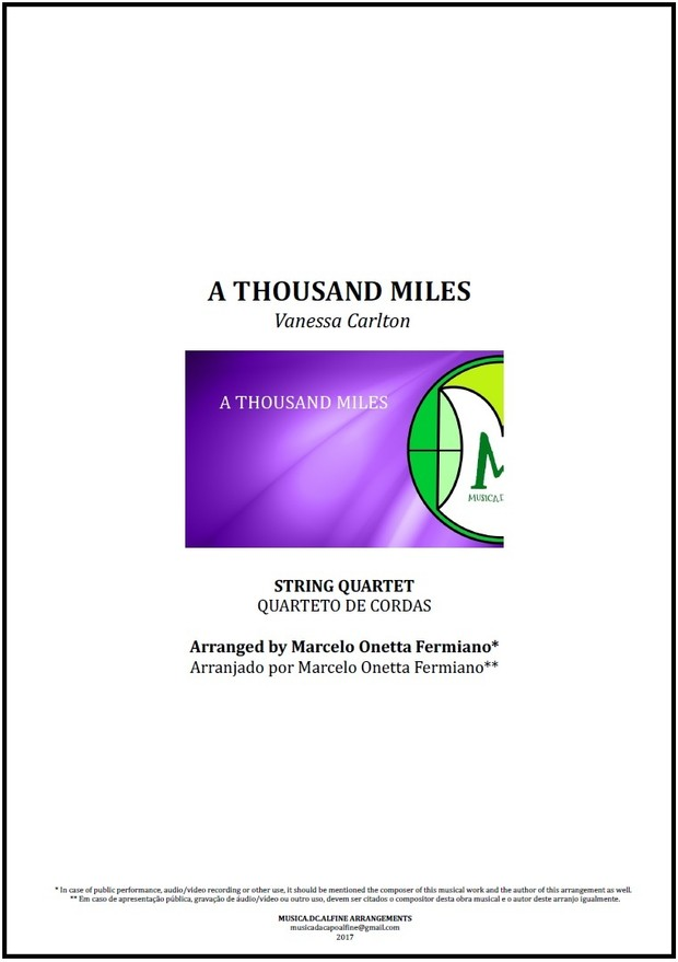 A Thousand Miles | Vanessa Carlton | String Quartet | Score and Parts Download