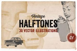 30 Vintage Vector Halftones