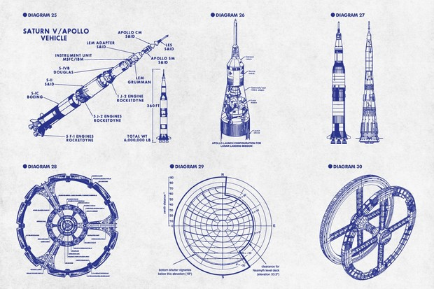 Retro Vector Diagrams - The Space Edition