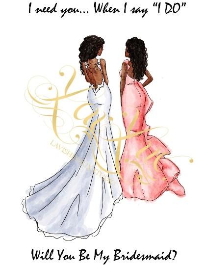 DBRS-DBRS MAID CARD - AFRICAN AMERICAN BRIDE - AFRICAN AMERCAN MAID OF HONOR