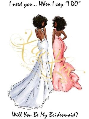 DBRA-DBRA BRIDESMAID CARD - AFRICAN AMERICAN BRIDE - AFRICAN AMERCAN BRIDESMAID - NATURAL HAIR