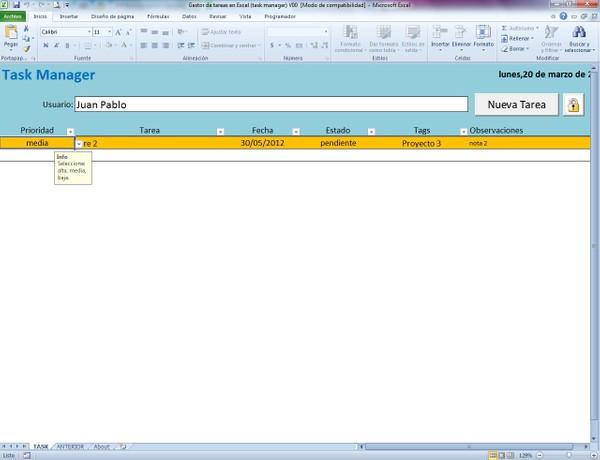 Gestor de Tareas en Excel (Task Manager)