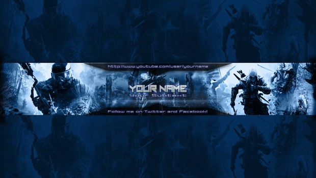 gaming youtube banner template blue customizeable