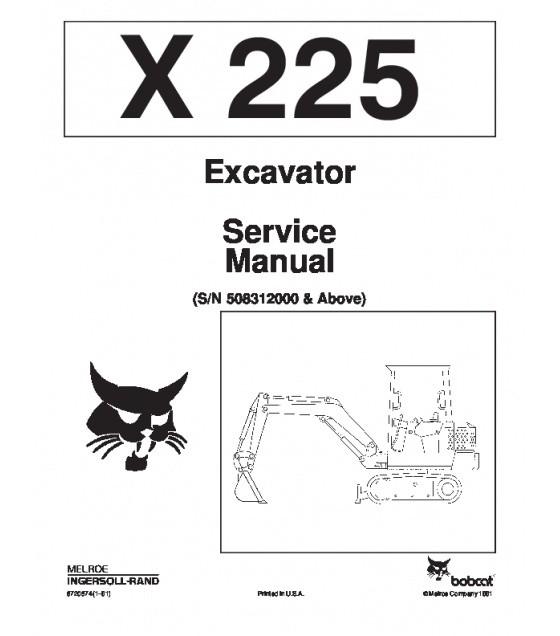 ONLINE Bobcat 225 Excavator Service Repair Manual S/N 5083