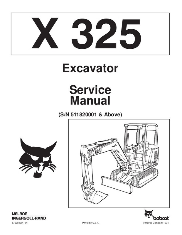 PDF BOBCAT X 325 EXCAVATOR SERVICE REPAIR MANUAL (S/N