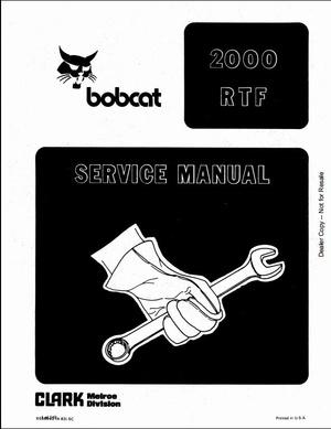 Bobcat 2000 RTF Wheel Loader Service Repair Manual PDF