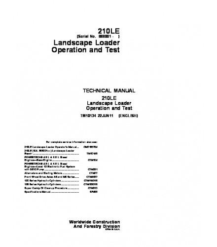 John Deere 210LE Landscape Loader Operation and Test Technical Manual TM10134