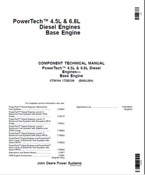 John Deere PowerTech 4.5L and 6.8L Diesel Engines Service Technical Manual CTM104