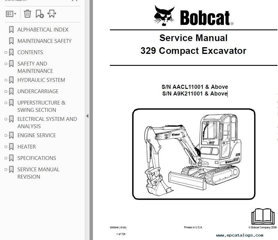 Bobcat 329 Excavator Service Repair Manual Pdf Sn Aacrhsellfy: 2000 Bobcat Wiring Diagram At Gmaili.net