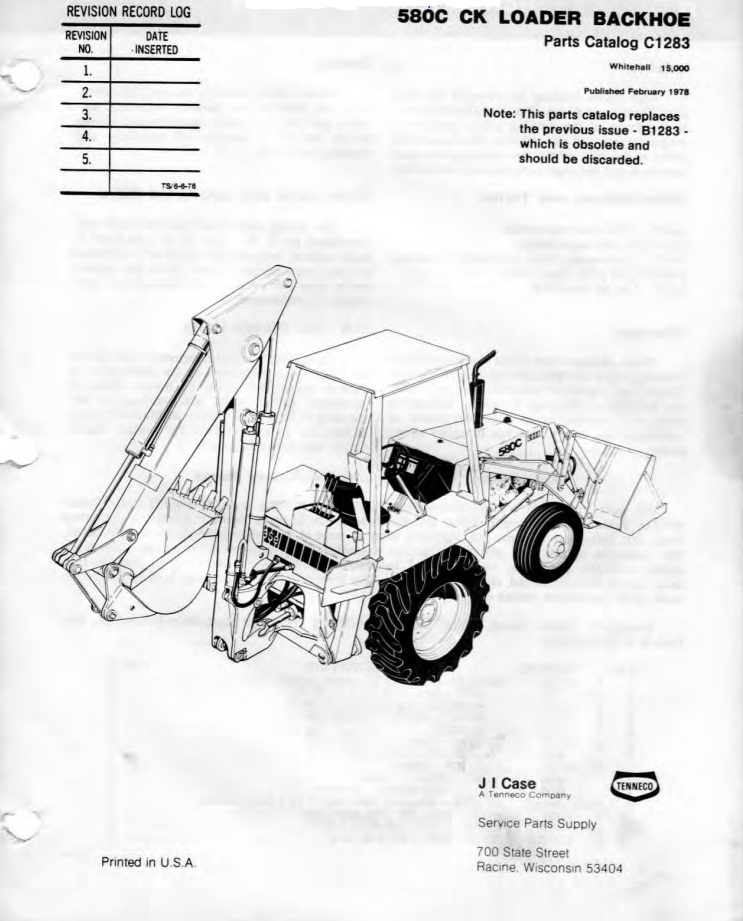 580 Case Backhoe Parts Manual