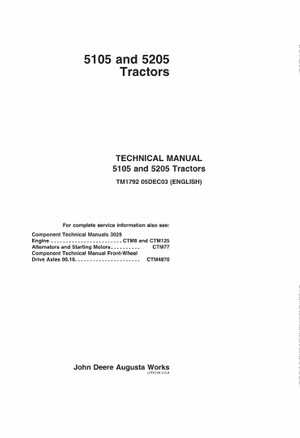 PDF John Deere 5105 and 5205 Tractors Service Technical Manual TM1792