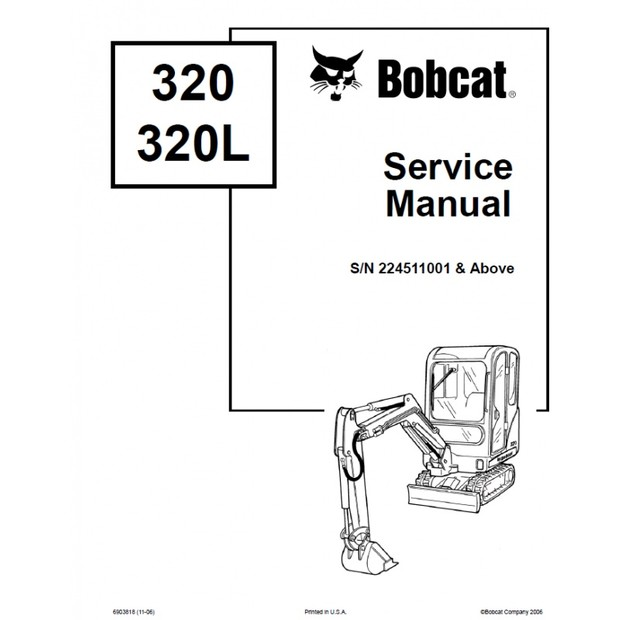 EBOOK Bobcat 320 320L Excavator Service Repair Manual S/N