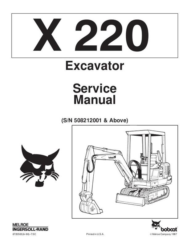 PDF Bobcat 220 Excavator Service Repair Manual S/N 5082