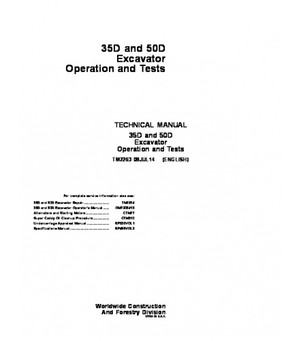 PDF John Deere 35D, 50D Excavator Operation and Test Manual TM2263 Instant Download
