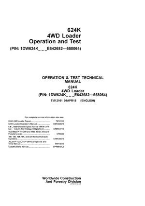 TM12101 JOHN DEERE 624K WHEEL LOADER OPERATION AND TEST MANUAL PDF DOWNLOAD