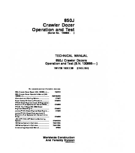 john deere 850j crawler dozer operation and test servi rh sellfy com Army Technical Manuals M320 Technical Manual