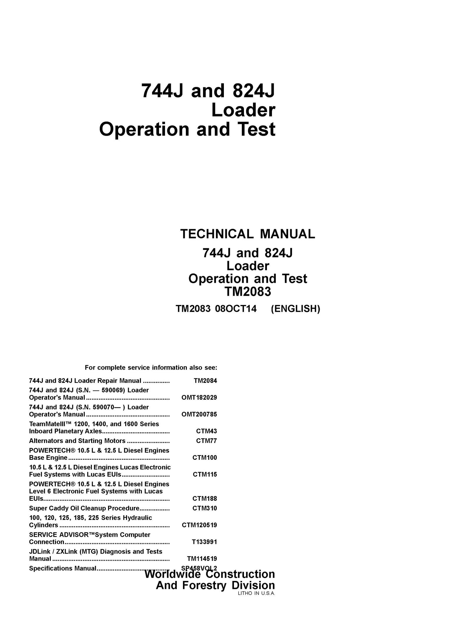john deere 744j 824j wheel loader operation and test t rh sellfy com Technical Manual Clip Art M320 Technical Manual