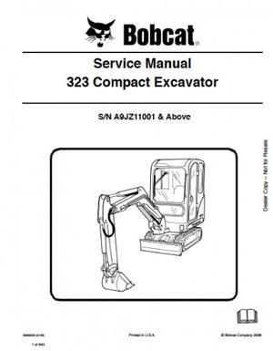 Bobcat 323 Excavator Service Repair Manual PDF S/N A9JZ 11001 and up