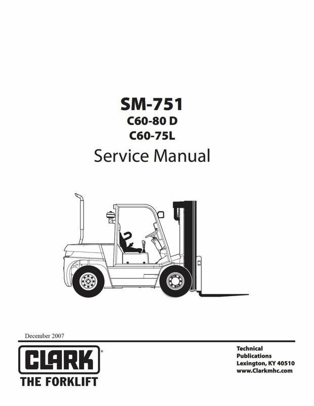 Clark C60-80D C60-75L Forklift Factory Service Manual
