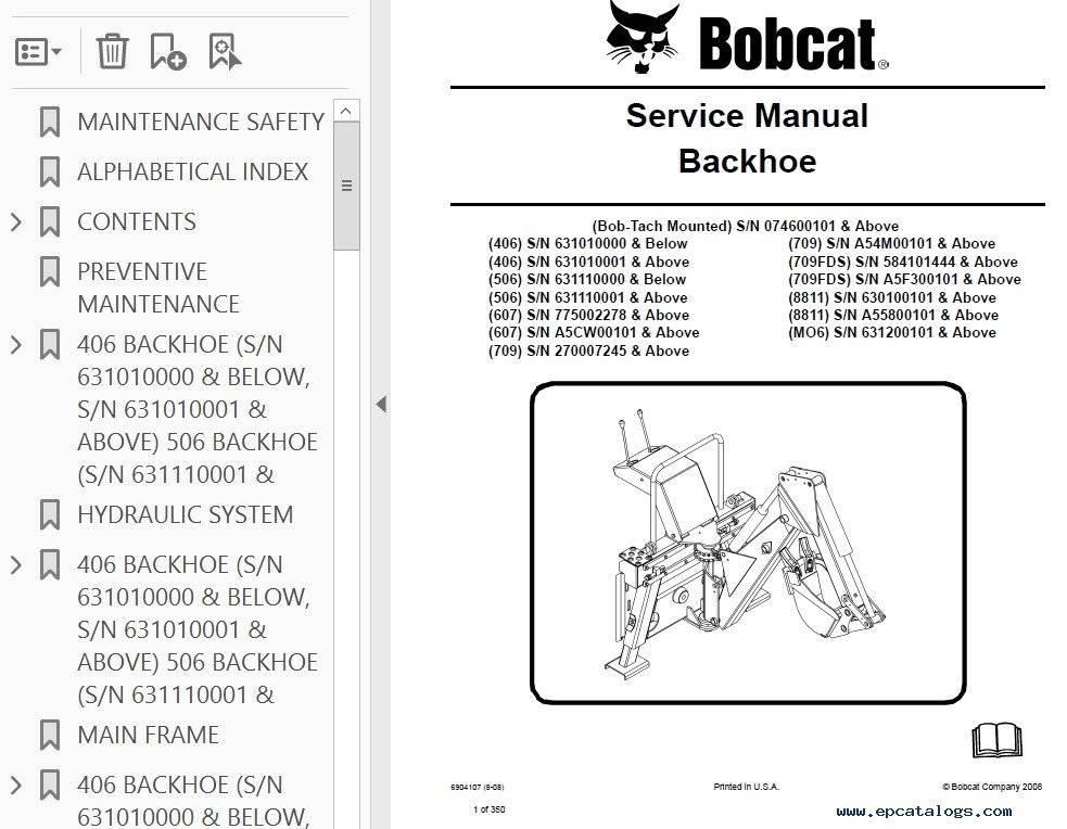 bobcat 406 to 709 8811 mo6 backhoe attachment servic rh sellfy com Bobcat 709 Backhoe Buckets Bobcat Backhoe Seat
