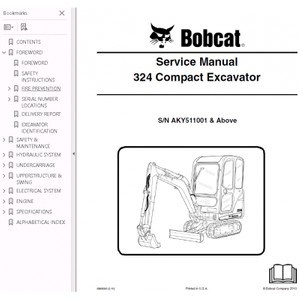 Bobcat 324 Excavator Service Repair Manual PDF S/N AKY5 11001 and Above