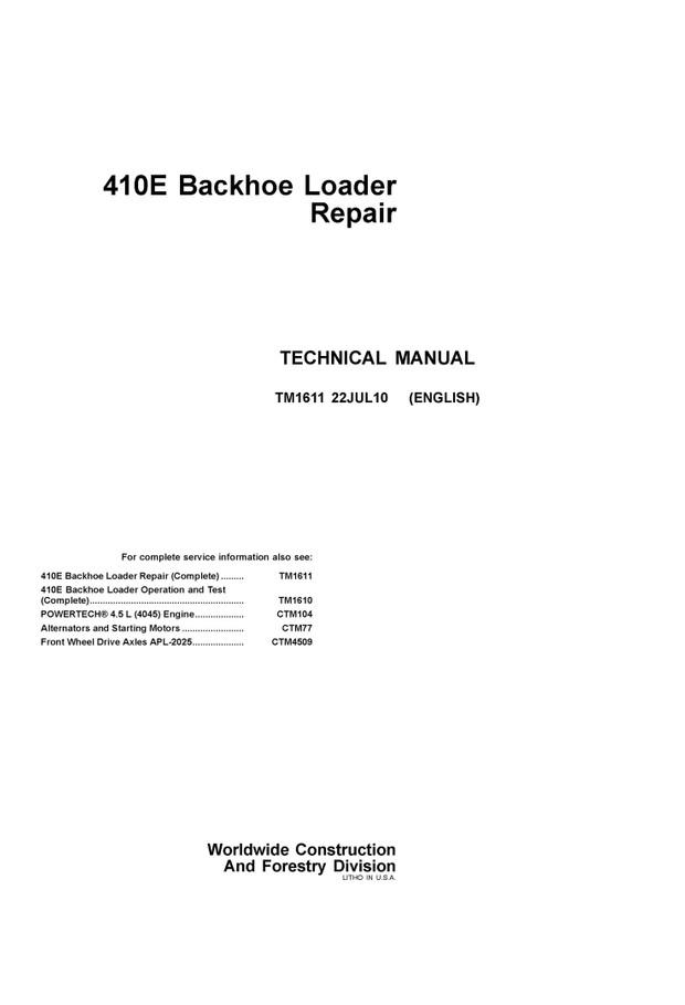 pdf download john deere 410e backhoe loader repair tec